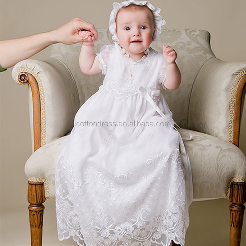 Euramerican new white baby dress kids lace baptism dresses baby girl christening gowns