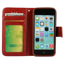 C527 Hot Selling Quality Assurance Crazy Horse Card Slot PU Leather Phone Cover For Iphone 5C Case