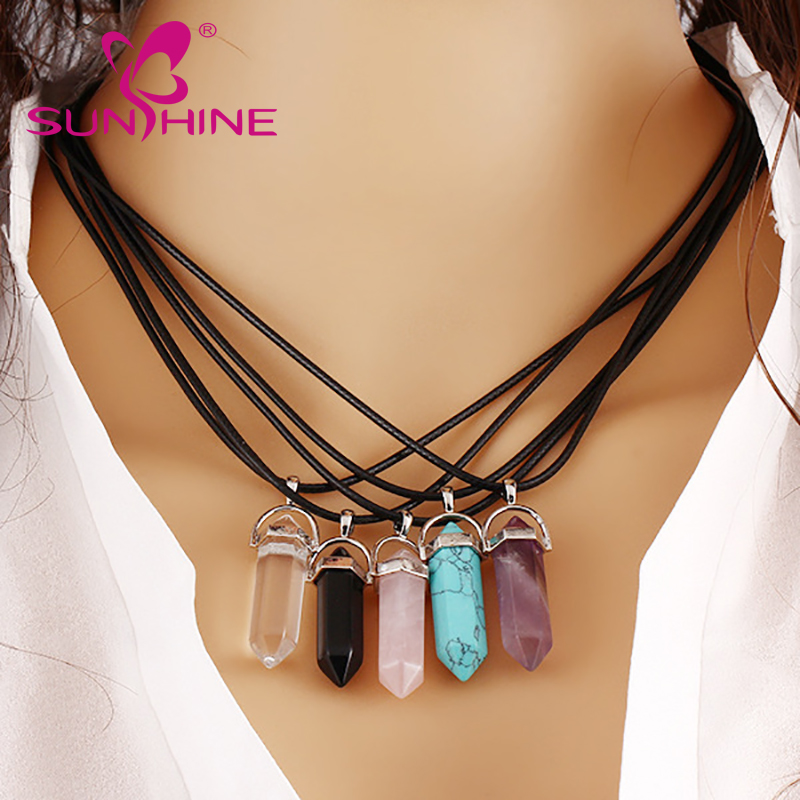 Hot Sales Natural Stone Necklace Crystal Hexagonal Shape Pendant Necklace <strong>Jewelry</strong> Wholesale