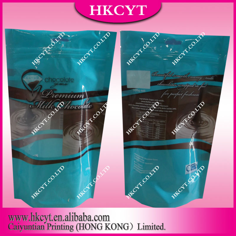 Stand up food packaging bag with zipper/mylar stand up plastic chocolate bag