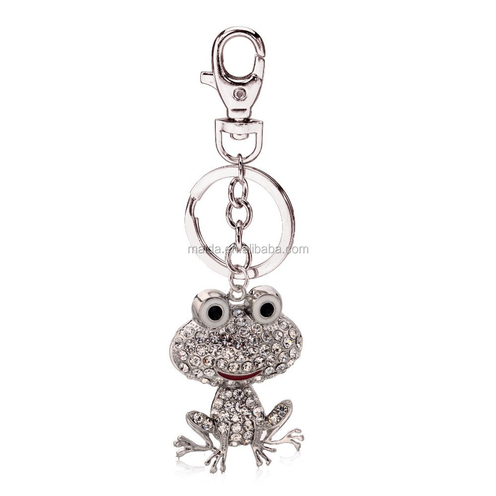 2014 custom keychain,cheap promotional keychains,crystal diamond frog keychain promotional
