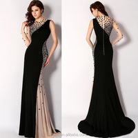 Sexy Black Floor Length Sheath Black And Champagne Turkish Evening Dresses For Women, Evening Dress 2015