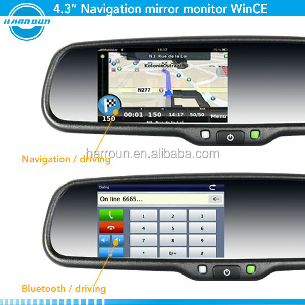 GPS rearview mirror with bluetooth rearview monitor reverse camera display