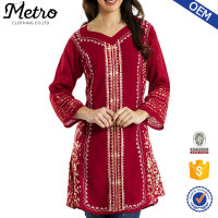 Purplish red denim long sleeve kurta neck designs for women