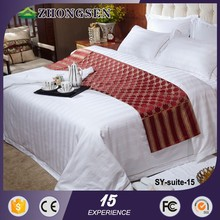 100% Cotton Bed Sheets 6pcs hotel bedding set with three stripe