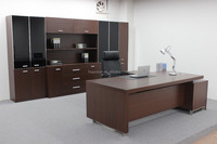 Guoxun Office Project Classic Wenge Office Executive CEO Desk With SS Edge MFC Antique Desk With Long Side Cabinet Modern Desk
