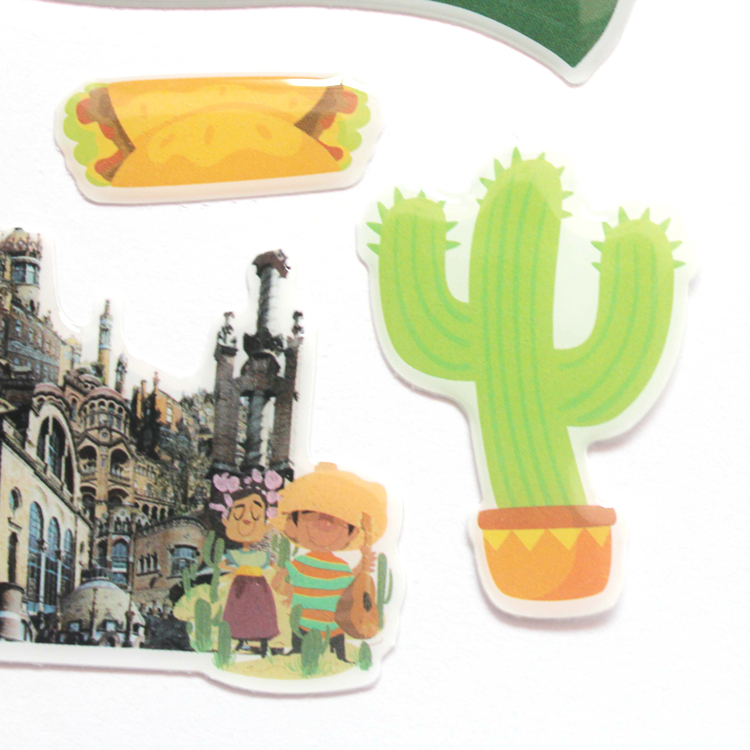Green Color Plant Castle Custom Shape Design 3D Epoxy Resin Floor Sticker, Epoxy 3D Logo Sticker