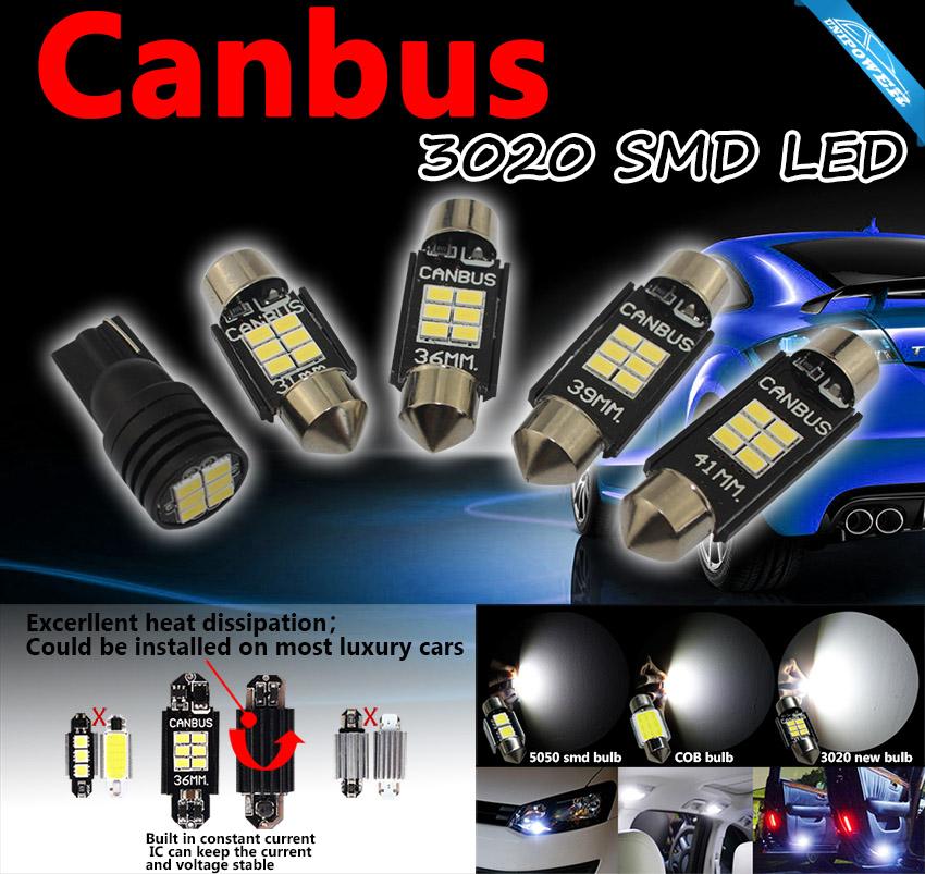 360-degree Error Free 6-smd-3020 T10 W5w C5w Festoon Led