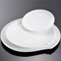 14 inch Pure White Hotel Porcelain Service Platters