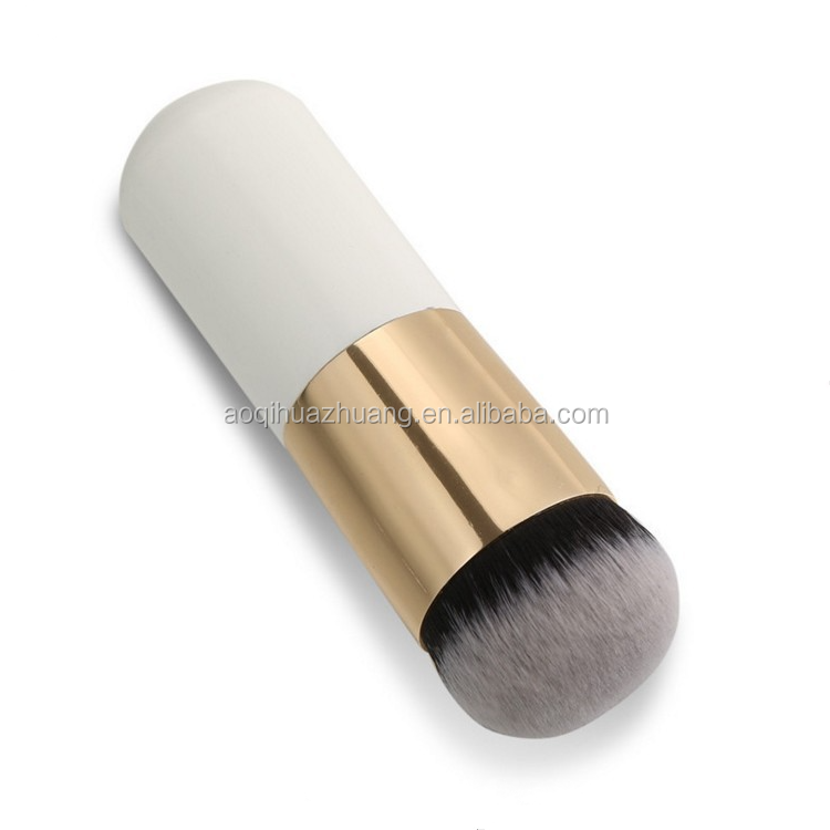 Portable Mini Makeup Brush Flat Top Foundation Powder Cosmetic Brush Gold And White For Women & Girls