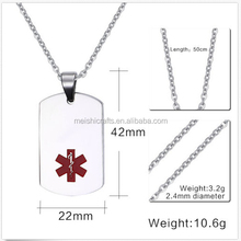 Medical Symbol Dog Tag Stainless Steel Pendant Personalized Name Engraved