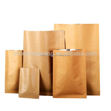 Custom made restaurant kraft paper heat seal aluminium foil paper food bag 3 sides sealable pouch