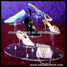 Clear round pmma acrylic high heel shoes display tray