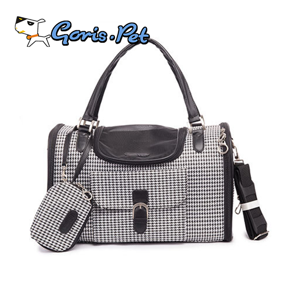 High Quality PVC Pet Outdoor Purse Carriers Dog Carrier Bags Houndstooth Fashion Cat Carriers