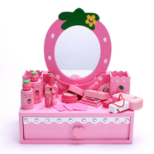 Girl Beauty Make Up Asst Wooden Dressing Table Design Toy with Mirror