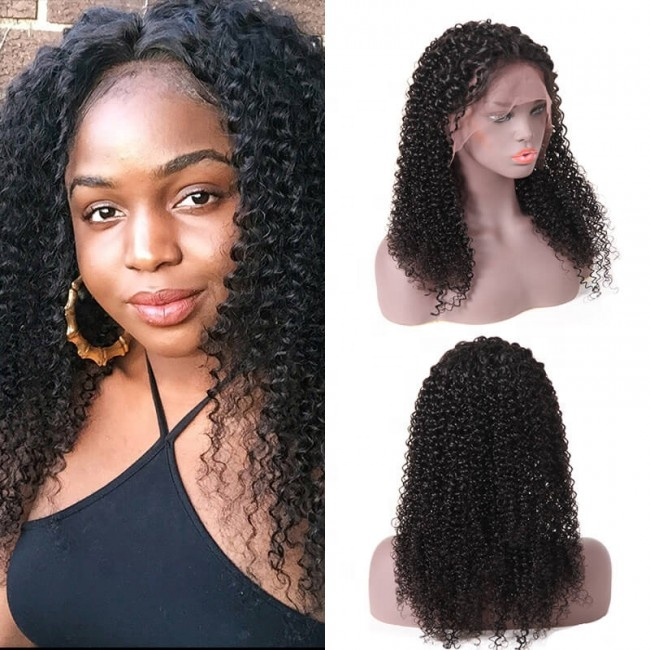 Factory Price Natural Color Kinky Curl Raw Human Hair 360 Lace Frontal Wig Cap With Baby Hair