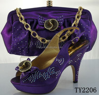 Manufacturer italian matching shoes and bags for women/purple color shoes and bag set for party
