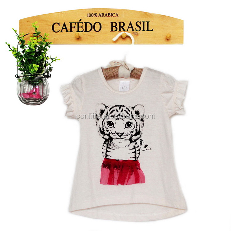 children fashion wear girls tiger print t shirt with lace