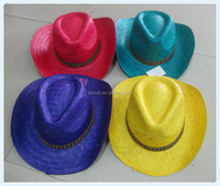 Cheap Straw Cowboy Hat Purple Yellow Green Red