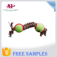 New Listing Wholesale Dog Toys Made Of Cotton Ropes and Tennis Balls In 2015