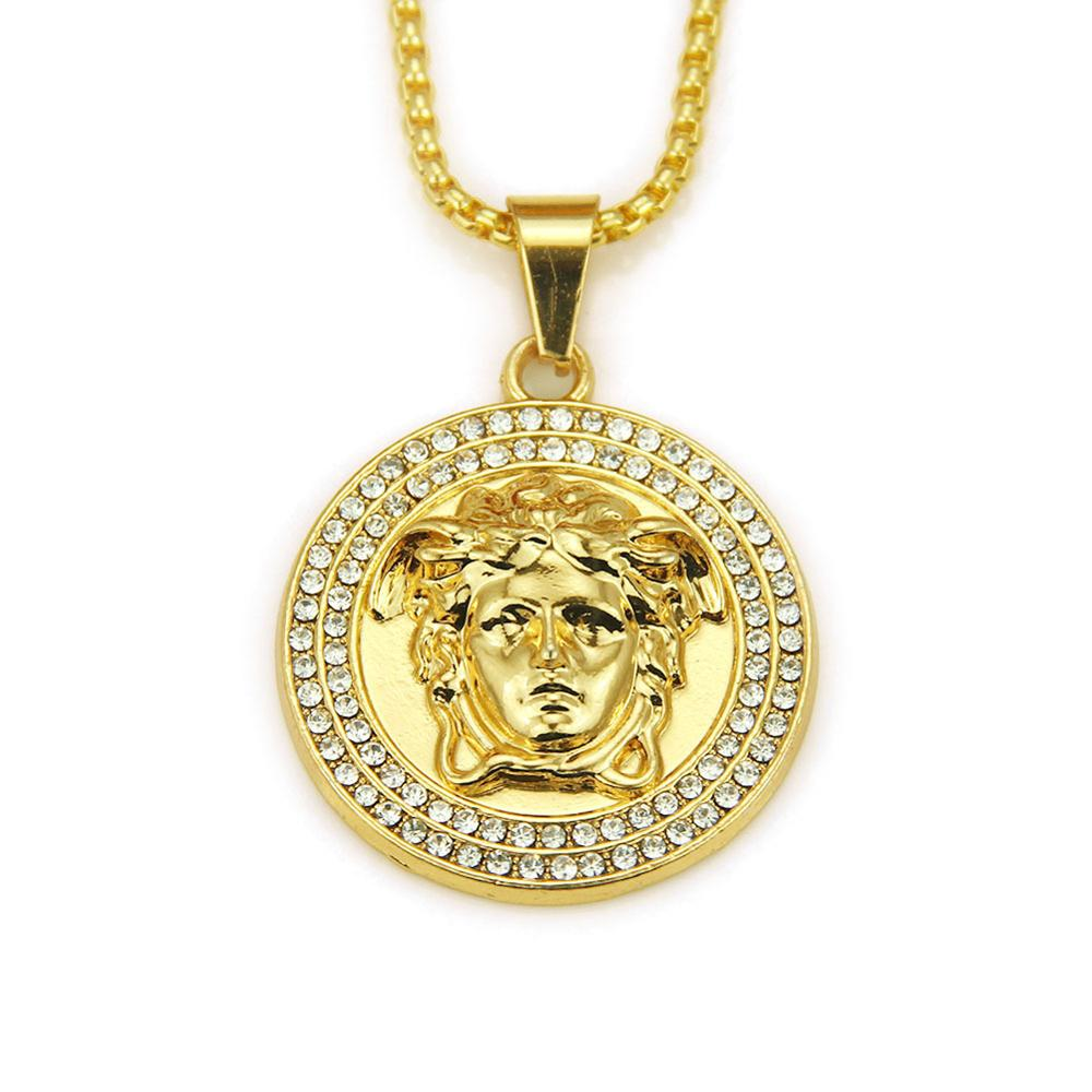 <strong>Fashion</strong> New Arrived Hot Selling Zinc Alloy Round Crystal Diamond Punk Men Gold Jewelry Pendant Necklace For Men