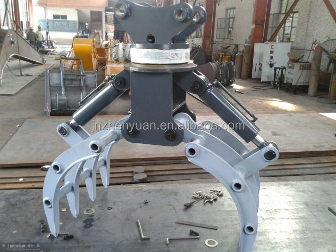 Excavator grapple hydraulic rotating wood grapple