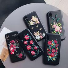 Retro Embroidered Roses PU leather Back Cover Case for iphone X 8 8 plus 7 7 plus 6 6S plus SE