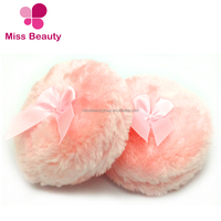 2018 New Arrivals Extreme Soft Long Plush Cosmetic Air Cushion Puff with Silk Ribbon Free Samples