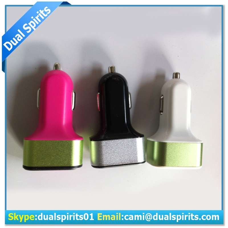1a 2.1a 3a portable dual usb car charger,car charger with 3 usb port supplier