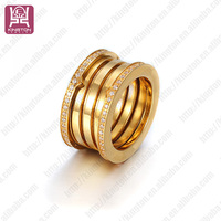 diamond gold plated stainless steel ring