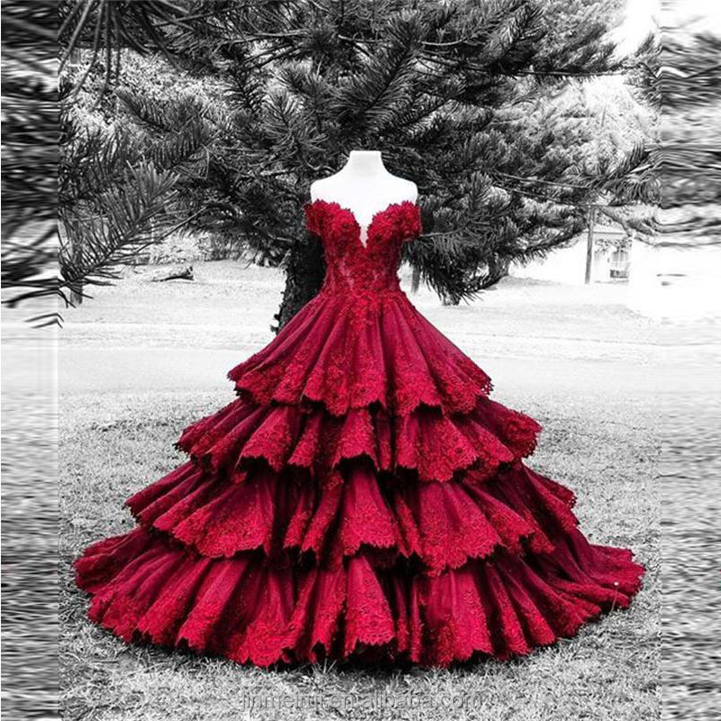 Vintage Burgundy Color Lace Wedding Dresses Robe de Mariage Sexy Sweetheart Short Sleeves Tiered Long Wedding Dress Bridal Gowns
