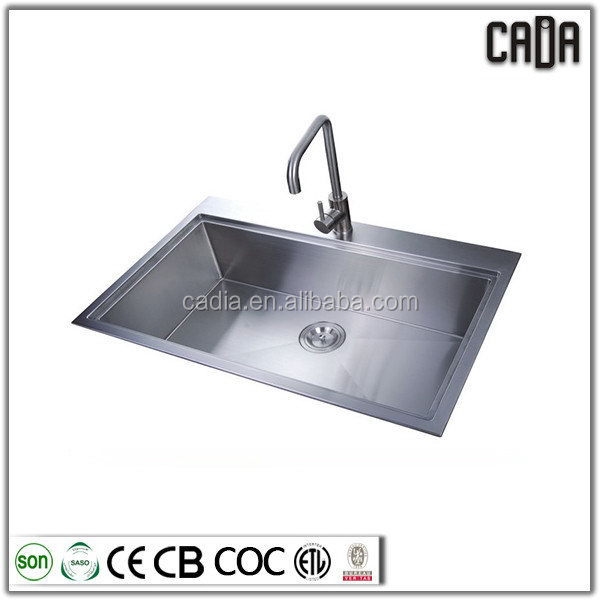Super quality newest Single bowl 838X559X254mm Top mounted industrial stainless steel wash basins