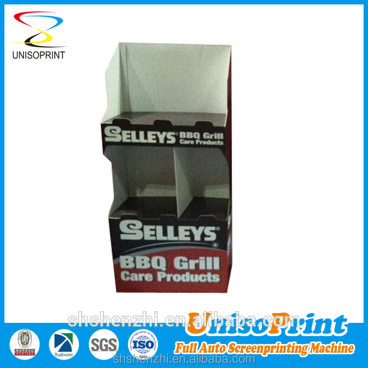 Full color printing plastic display for advertising promotion product and rack display show shelf