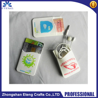 High definition custom printed cell phone case card holder,3M sticky silicon card holder on the back side of mobile phone