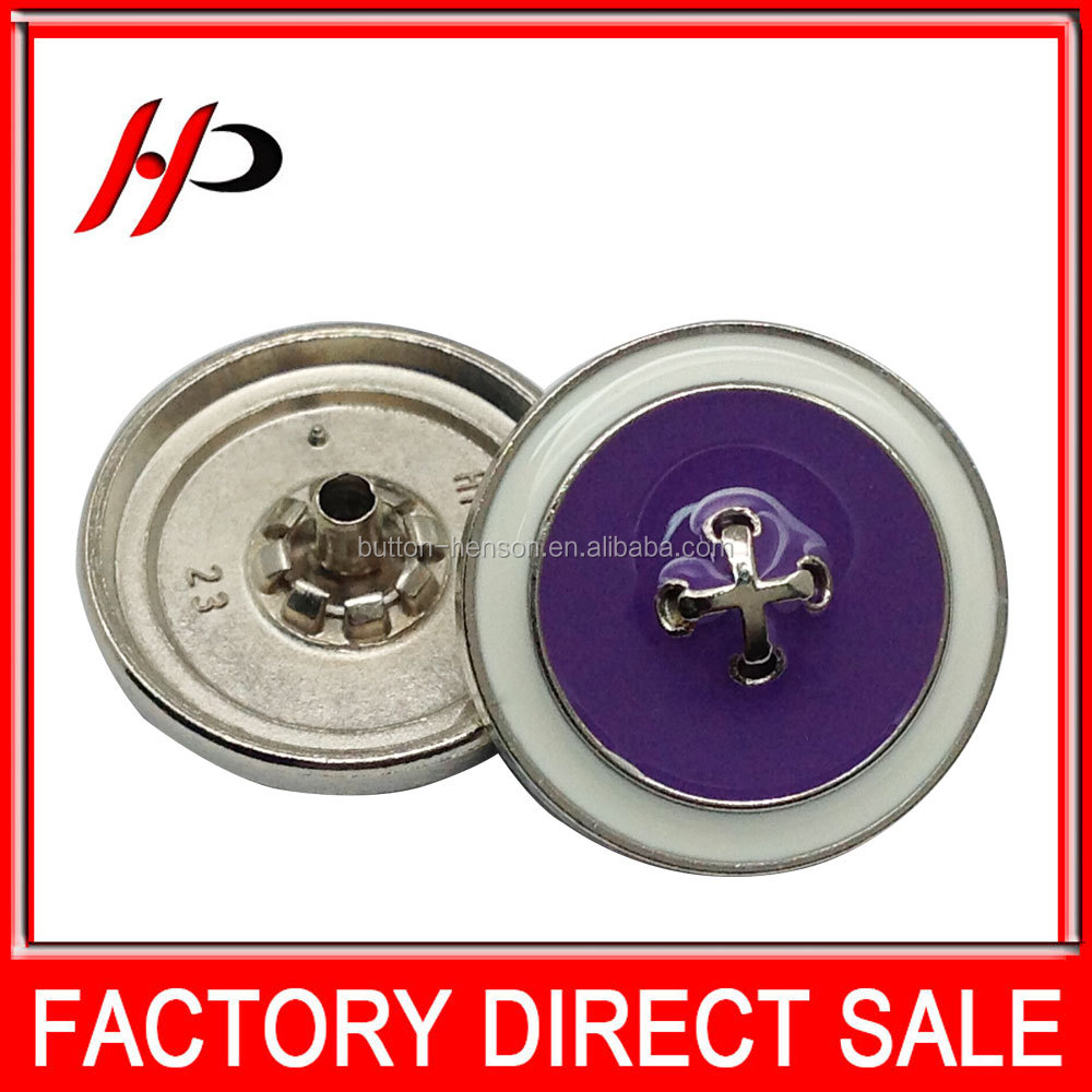 Factory removable 23mm custom printed metal upholstery zink alloy snap top button for leather