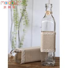 250ml Countryside Style Square Oil Bottle With Fabric Decoration