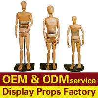 Head, arms and legs can adjustable for window display Wooden Mannequins