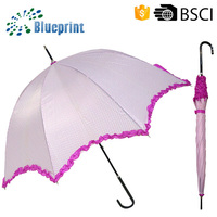 Rain and sunny 23inch straight fashion polk dot umbrella women with crook handle