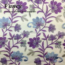 2015 high quality hot sell purple flower embroidery muticolor lace tulle fabric for dress can cloth