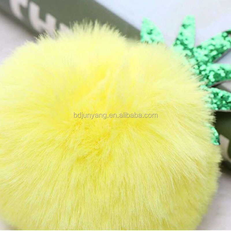 fluffy keyring fur ball keychain pineapple faux fur pom pom key chain faux rabbit fur keychain