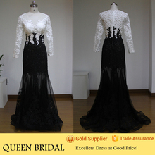 Real Sample Long Sleeve Appliqued Lace White And Black Evening Dresses From Dubai