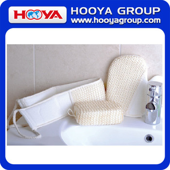 3 PCS Natural Sisal Bathroom Set including Bath glove, Bath sponge, Body Towel