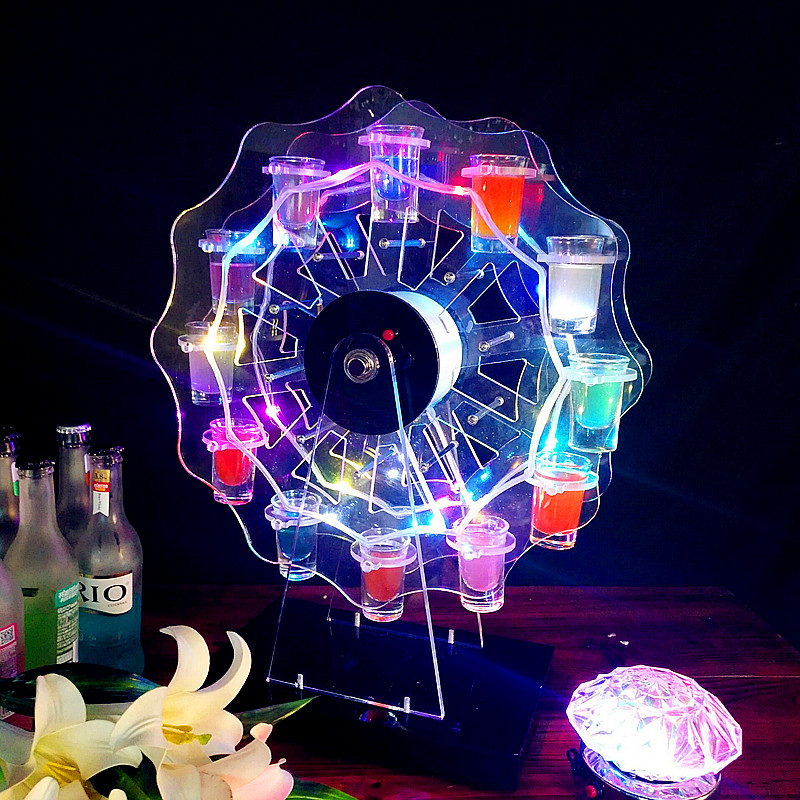 Revolving Glass <strong>Display</strong> Stand LED Ferris Wheel Shot Glass Tray Wine Rack Holder