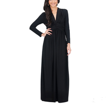 Sexy Elegant Long Frog Dress Muslim Women Long Sleeve Maxi Dress