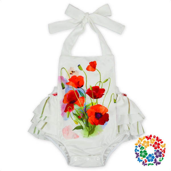 Newborn Baby Clothes Rompers Flower Designs 1 Year Old Baby Girls Clothes Infants Bodysuits Toddlers Summer Romper For 0-3 Years