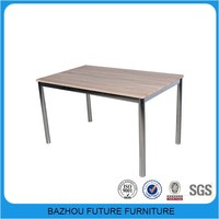 simple design modern European classical furniture dining table MDF top chromed frame