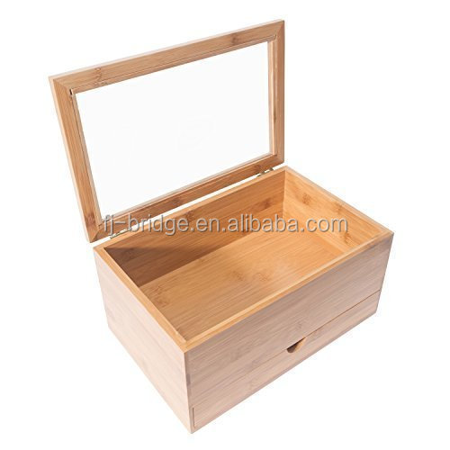 Bamboo Tea Box and Condiment Storage Drawer Natural Color with a Clear Acrylic Lid