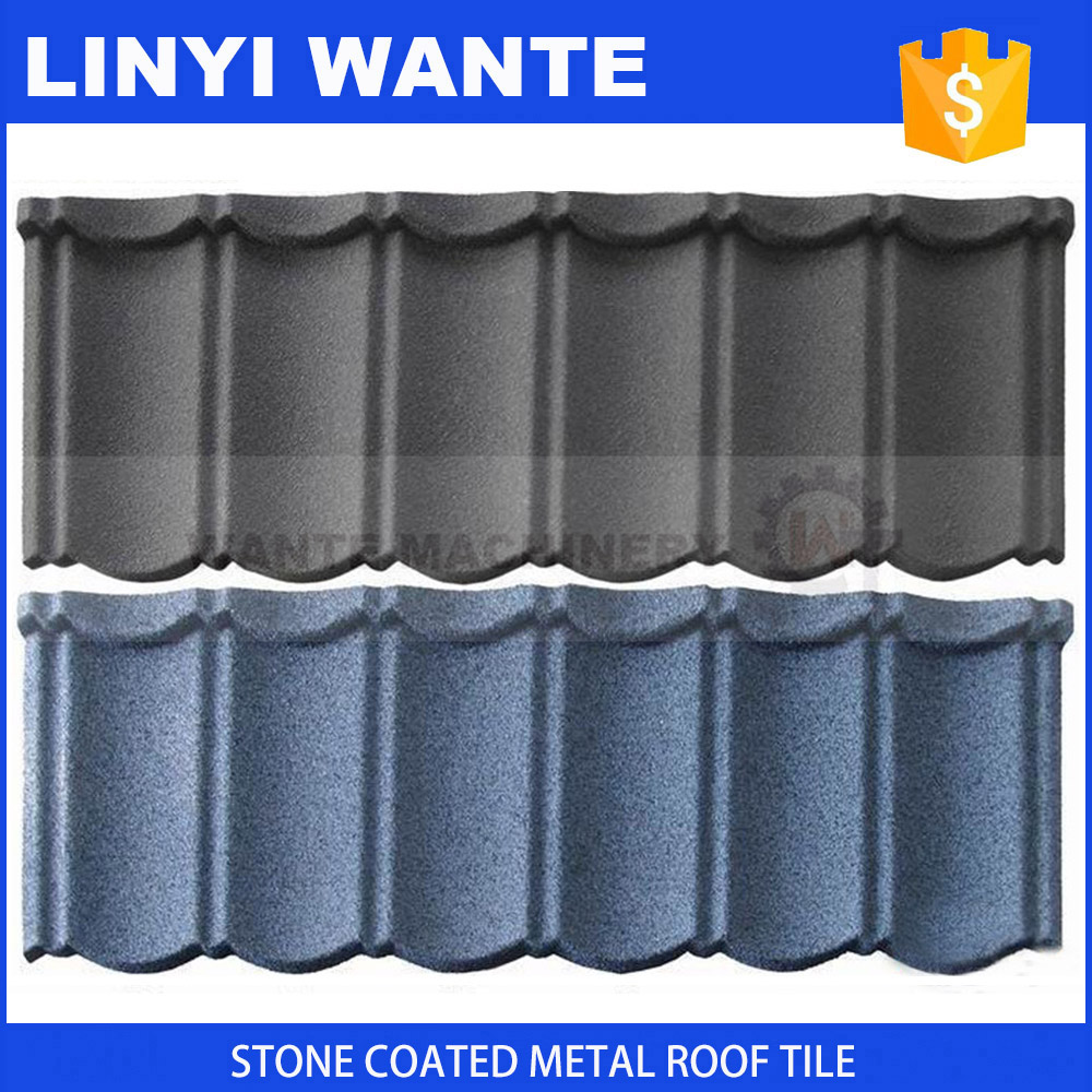 Strong 0.4mm thickness corrugated aluminum zinc metal stone coated roof tile
