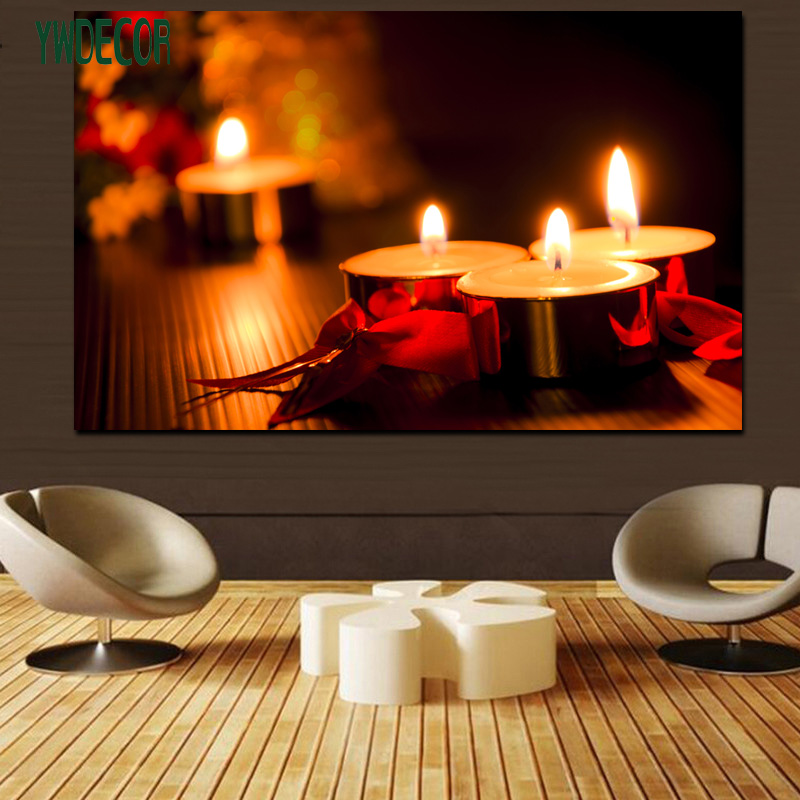 Modern Wall Decoration LED Light Fabric Painting Romantic Candle Theme LED Canvas Frame Picture