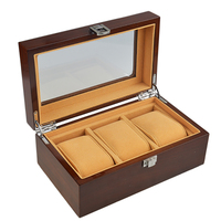 Vintage Watch Box 3 Grids Boxes for Watches Display Antiqued Wooden Cases Pillow Gift cajas para relojes